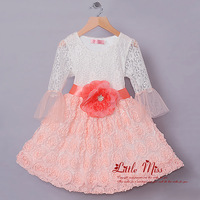 New 2014 Girl Princess Dress For 3-7Y Flower Belt Lace Dresses Pink White Grils Dress For Kids Summer Clothing Free Shipping
