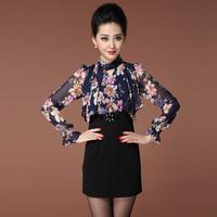 Free shipping Fashion OL women's outfit autumn dress elegant beading stand collar print slim long-sleeve dress xxl