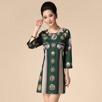 Free shipping Fashion elegant 2014 women's beading vintage pattern 7 modal cotton one-piece dress