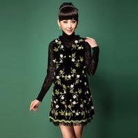 Free shipping Noble autumn and winter women embroidery rabbit fur tassel V-neck sleeveless vest velvet 3XL one-piece dress