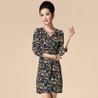 Free shipping 2014 fashion spring and summer plus size clothing vintage vase print V-neck 7 slim one-piece dress