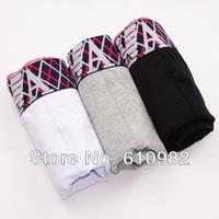 3 pcs/lot Men's Underwear Cotton High quality brand Boxers Shorts Mix-color Black Gray White cueca Grid pattern