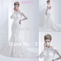 Top Quality Custom Made Mermaid Bateau Neckline Keyhole Back Long Sleeve White Lace Wedding Dress