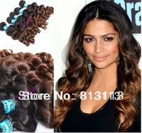 Oxette  5A Ombre Brazilian Virgin Remy Hair, big spring curl, 3pcs 4pcs/Lot ,Two Tone Color #1b/#33 ,Ombre Hair Extensions Weave