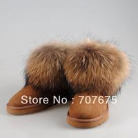 Free Shipping Newest Womens Classic Mini Fox Fur 5854 Australia Snow Boots Real Sheepskin, Women Winter Boots, Size US5-10