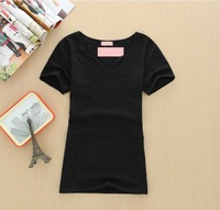 Free shipping,Women's T-shirt of cultivate one's morality, pure color petal led v-neck t-shirts wholesale