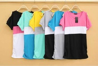 Free shipping,2014 summer, round collar off-the-shoulder trichromatic splicing into loose big size T-shirt,wholesale
