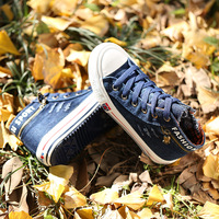 New 2014 Children Sneakers spring child boys shoes water wash denim skull high child canvas shoes Children shoes boys Size 25-37