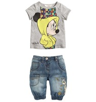 Wholesale free shipping 2014 Cute girl`s cartoon Minnie Mouse casual short-sleeved t-shirt jeans shorts girl two-piece suits