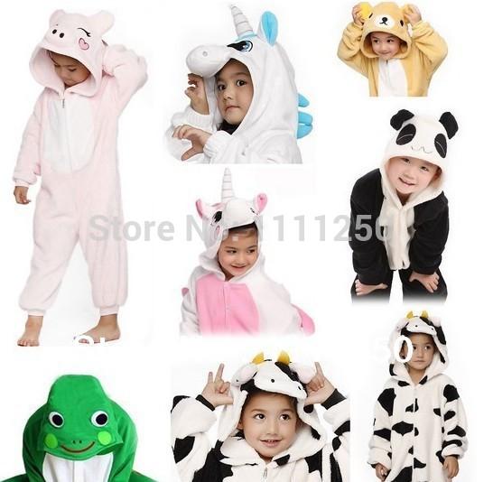 23 Style Winter Children Flannel Animal pajamas One Piece Footed Kid pajamas Hooded Romper Sleepwear(China (Mainland))