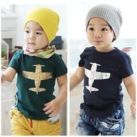 Free shipping , new 2014 children t shirts wholesale summer boy girl leisure plane short sleeve kids t-shirt tops tees 5pcs/lot