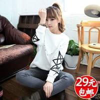 Harajuku women's plus velvet thickening clothes women's outerwear sweatshirt juniors clothing autumn and winter