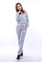 Spring and autumn women's sweatshirt twinset women's sportswear cartoon embroidery elastic casual set