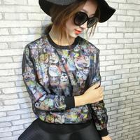 2014 spring owl cat print organza long-sleeve sweatshirt women's boutique
