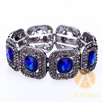 [Arinna Jewelry] Fashion Vintage Gold Plated Spring Stretchy Bracelet and Bangles Dark Blue Austrian Crystals for Women B1895#5