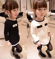 2014 little girls clothing thickening ladies o-neck long-sleeve plaid doll solid color princess one-piece dress
