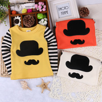 Children's clothing 2014 spring new arrival male female child 100% cotton t-shirt hat style long-sleeve baby basic shirt