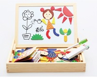 Magnetic Wooden Educational Learning Toys For Child Children Double-faced whiteboard chalkboard doodle 3d Puzzle Baby Gift
