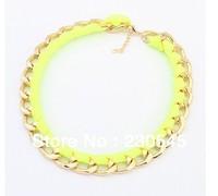 2014 New Fashion Women Luxury Statement Necklaces Alloy Fluorescence Bib Choker Necklace Korean Style High Quality Jewelry