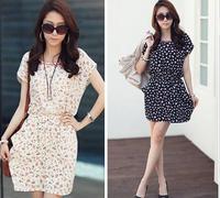 new 2014 summer casual dress women O-Neck  bat sleeve chiffon  knee-length print dress plus size S--XXL Free shipping