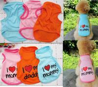 3 colors 5 size pet puppuy coat summer style vest love my parents dog clothes WT55