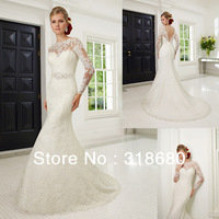 Elegant Simple Crystal Beaded Belt Romantic Lace Low V-back Sexy Beaded Sash Floor Length High Neck Long Sleeve Wedding Dress