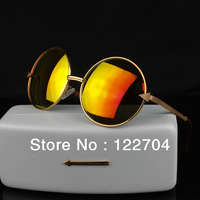 2014 New arrival Women circle sunglasses female reflect mirror Lady promotion sunglasses