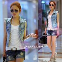 Good Quality 2014 New Women Fashion Frayed Cardigan Denim Jeans Jacket Vests Coats Womans Casual Waistcoat Hot Tops Wholesale T5