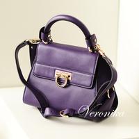 High quality fashion big lockbutton first layer of cowhide one shoulder handbag cross-body women's handbag