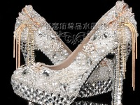 New handmade Customized high heel Platform wedding shoes women high heel shoes woman platforms silver rhinestone platform pumps