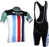 2014 Hot  Sale bianchi Short sleeve Cycling Jersey /Bike Bicycle Wear With  Bib Shorts Suits Size :S~XXXL