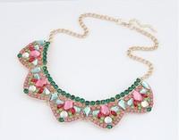 2014 New Fashion Women Luxury Collar Statement Necklaces Alloy Bib Choker Necklace Korean Style High Quality Jewelry