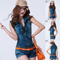 New 2014 lady Korea Women summer Jeans Denim deep blue Jumpsuits/Rompers Lady Sleeveless Vest+Shorts overalls Set