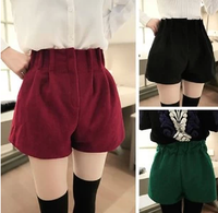 2014 woolen shorts fashion pleated fashion bud high waist woolen shorts