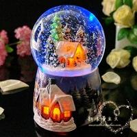 Free shipping Christmas crystal ball rotating box music birthday day gift