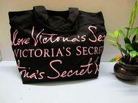 Victoria vs black powder letter one shoulder handbag canvas handbag women's
