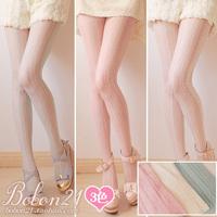 Bobon21 sweet lolita   three-dimensional woven pattern vertical stripe lace thin pantyhose  ac0772