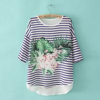 Fashion summer new arrival 2013 stripe flower print casual female half sleeve t-shirt loose shirt chiffon shirt