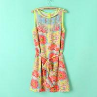 Summer anna 2013 manoush lace diamond pearl beading print vest one-piece dress