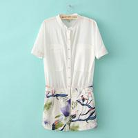 Fashion jumpsuit 2013 lily print formal ol chiffon short-sleeve casual jumpsuit pants female