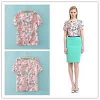 Summer women's 2013lily fashion ol o-neck short-sleeve print chiffon shirt top