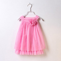 2014 new arrial girls princess party dress kids flower veil dress vest dress pink red 5pcs/lot