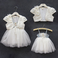4 sets/lot new arrival girls summer white lace flower dress+pear flower coat kids princess 2 pieces suit