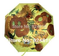 2014 new free shipping fashion ladies oil painting (sunflower) folding Anti UV umbrella sun protection umbrella
