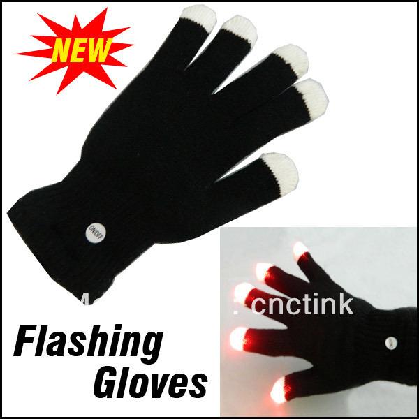 Novelty Toys LED Flashing Gloves Christmas Halloween Party Decoration Show Flash Finger Light Glove(China (Mainland))