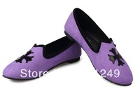 Spring 2014 European and American women's suede pumps round warm and comfortable flat with flat Crow Heart Cross single shoes