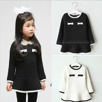 Hot sale girls spring autumn princess cotton dress kids warm long sleeve dress black white