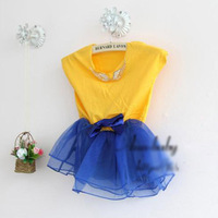 2014 new arrival girls summer candy color patchwork dress kids cute princess tutu dress