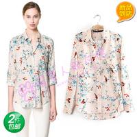 2014 print shirt female long-sleeve shirt female plus size clothing long-sleeve shirt women's shirt