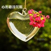 10piece/lot 13cm*14cm Transparent heart shaped vases love hydroponic home decoration accessories